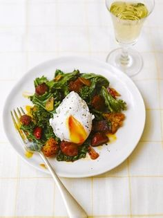 Kale, fried chorizo & crusty croutons with a poached egg, enjoy for breakfast or brunch. | Jamie Oliver