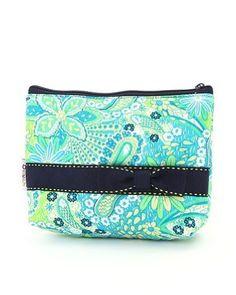 """Belvah Quilted Paisley Cosmetic Case (Turquoise/ Navy) Belvah. $8.95. Ribbon accent and fully lined fabric compartment.. Body of bag: L 7"""" * H 5"""" * W 2.5"""".. Made from quilted paisley print fabric with zip top closure."""