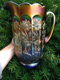 *FENTON ART GLASS ~ RARE Starflower Pitcher Blue Carnival Glass