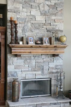 Stone Fireplaces and Wood Mantels - traditional - family room - chicago - North Star Stone