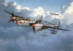 Lockheed P-38 Lightning Twin-engine fighter aircraft on combat patrol ~ BFD