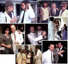 Peter Criss, a bearded Ace Frehley, Eric Carr, and Bill Aucoin attend the baptism of Jenilee Criss.