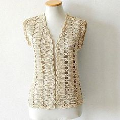 Débardeurs Au Crochet, Gilet Crochet, Crochet Woman, Crochet Blouse, Crochet Waistcoat, Crochet Jacket Pattern, Granny Square Crochet Pattern, Crochet Summer Dresses, Crochet Videos