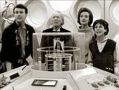 "William Hartnell as the First Doctor Carole Ann Ford as Susan Foreman, Jacqueline Hill as Barbara Wright, William Russell as Ian Chesterton - ""The Keys of Marinus"" - 1964 Doctor Who First Doctor, Eleventh Doctor, Jacqueline Hill, Dr Williams, Doctor Who Companions, William Hartnell, Classic Doctor Who, Sci Fi Series, Peter Capaldi"