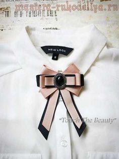 Pink and black bow tie Diy Bow, Diy Ribbon, Ribbon Bows, Ribbon Jewelry, Fabric Jewelry, Diy Fashion, Vintage Fashion, Brooch Corsage, Fashion Accessories