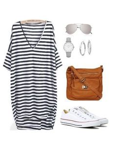 Three Ways to Wear Converse When on Vacation A white Converse outfit is both stylish and comfortable. You'll be ready for traveling, running errands, taking the kids here, there and eve # Mode Outfits, Casual Outfits, Fashion Outfits, Fashion Tips, Fashionable Outfits, Travel Fashion, Fashion Hair, Hijab Fashion, Fashion Ideas