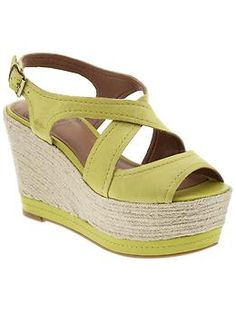 Chartreuse and khaki platform espadrilles by Lucky Brand at @Piperlime® - love the height + the platform = easy to walk in!