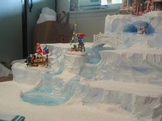 Tiered frozen falls North Pole display