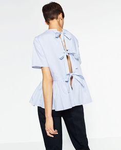 Imagem 2 de BLUSA POPELINA COM FOLHO da Zara