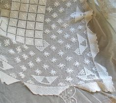 Crocheted Ivory Tablecloth in Cotton 54.5 x by marypearlsvintage