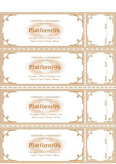 Free Harry Potter Hogwarts Express Ticket Template