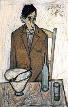 Le Buveur Assis The Sitting Drinker 1948 Bernard Buffet French Painter 1928 - 1999 France Stock Photo Edvard Munch, Illustrator, Emil Nolde, Australian Painters, Best Portraits, Mid Century Art, French Artists, Magazine Art, Famous Artists