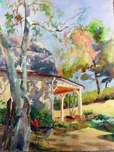 "Landscape Artists International: Georgia Landscape, House,Porch Painting,""Morning Shadows ""by Georgia Artist Deanna Jaugstetter"