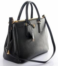 Prada Saffiano Leather Handbag BN2274 - Black Prada Saffiano e010276362d9d