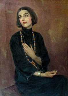 Paul Swan, American School, 1883-1972 'Portrait of Isadora Duncan wearing a blue dress and coloured bead necklace, three quarter length' oil on canvas, signed and dated '22 100cm x 71.5cm  Provenance Gift of the artist to Salvatore Cartaino Scarpitta (1887-1948) Enrico Saccone The flamboyant artist and dancer Paul Spencer Swan (1883-1972) had a tempestuous relationship with Isadora Duncan. They first met in Paris where Duncan had moved in 1900. She described Swan famously as 'the most…