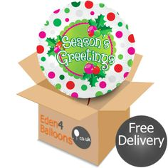 Seasons Greeting Balloon in a Box Gifts Delivered, Flowers Delivered, Free Delivery, Balloons, Bouquet, Seasons, Box, Floral, Handmade
