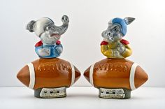 Jim Beam 1972 Donkey vs Elephant Primary Decanter Set, Footballs by TheRealmCollectibles, $19.99
