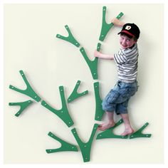 Busk KLATRETRE - Decorative Climbing Wall-- Stylized branches that can be combined in any way. The tree comes flat packed, with several mounting proposals inspired by the Norwegian woods. Differnt colors to choose from. If they are made from sustainable wood and painted with eco-paints....then we all want these! From Norway.  www.kajja.net