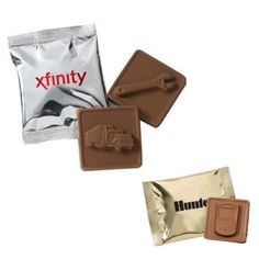 """Custom Printed Chocolate Squares with 24 Molds: Bag Colors: Gold, Silver Available Molds: 2015, Air Plane, Blackberry, Building, Caduceus, Car, Cell Phone, Cruise Ship, Dollar Sign, Globe, Hammer, Heart, House, Justice Scales, Key, Mouse, Laptop, Saw, Screwdriver, Shovel, Slot Machine, Star, Truck, Wrench Product Size: 3 1/4"""" W x 2 1/4"""" H, chocolate square: 2"""" x 2"""" Imprint Area: 2"""" W x 1 1/2"""" H Package Weight: 15 lbs. Packaging: 500.  #promotionalproduct #customproduct #customchocolate"""