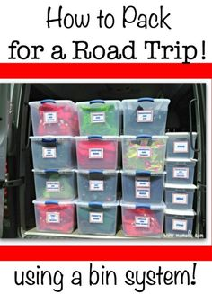 When traveling by car I find that I can be much more organized and efficient if I pack for a road trip using a system of bins and shopping bags to hold all of our clothes, toiletries, and other items that we will need for our adventure.