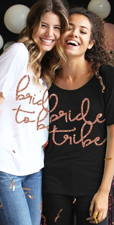 1a8ccd2e Bride To Be or Bride Tribe Rose Gold Glitter Flowy Tee | Bachelorette Party  Tops
