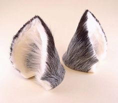 Silver Gray Grey Black White Fur Leather with Fox Hair Fan