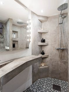 If you have a small bathroom in your home, don't be confuse to change to make it look larger. Not only small bathroom, but also the largest bathrooms have their problems and design flaws. Guest Bathroom Remodel, Budget Bathroom, Bathroom Ideas, Bathroom Remodeling, Cement Bathroom, Small Bathroom, Jacuzzi Bathroom, Brown Bathroom, Bathroom Art
