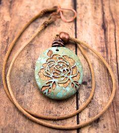 Copper Rose necklace-Aqua terra jasper-Engraved stone pendant