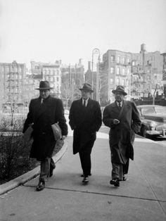 Mafia Boss Frank Costello with Attorney George Wolf and Unident By Alfred Eisenstaedt