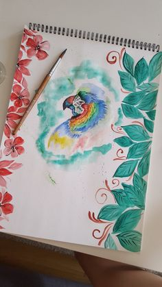 Watercolor painting. Parrot. Tropical