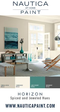 Designer Color Tip: Repeat colors throughout the space for a cohesive flow. Liven up a neutral paint color with sophisticated decor pieces in bold hues. Room Colors, House Colors, My Living Room, House Painting, Home Projects, Home Remodeling, Family Room, Sweet Home, New Homes