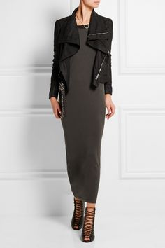 Rick Owens dress and jacket, Givenchy boots and clutch