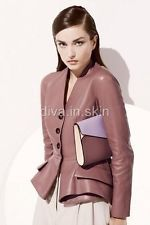 LAMBSKIN LEATHER TAILOR MADE PEPLUM JACKET BLAZER TOP WINTER PROM PARTY