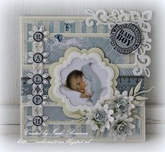 I just like the flowers! Baby Girl Cards, New Baby Cards, Baby Barn, Baby Boy Scrapbook, Baby Christening, Beautiful Handmade Cards, 3d Cards, Baby Shower Cards, Marianne Design