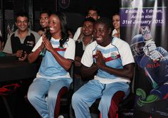 West Indies women cricket team captain, Merissa Aguilleira, and her teammates, Stafanie Taylor interact with children during the promotion of ICC Women World Cup at Star Sports SMAaASH, a interactive sport hub in Mumbai, India on February 6, 2013.