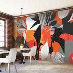 Tropicana mural by Level Digital Wallcoverings. Healthcare, hospitality, corporate, and retail spaces. Mural Wall Art, Mural Painting, Office Mural, School Murals, Murals Street Art, Wall Drawing, Environmental Graphics, Grafik Design, Paint Designs