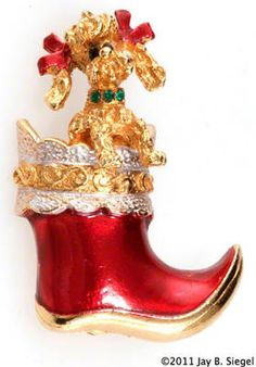 MYLU Christmas poodle dog in red boot pin - 1960's