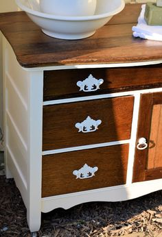 white and wood stained dresser: Shabby Love