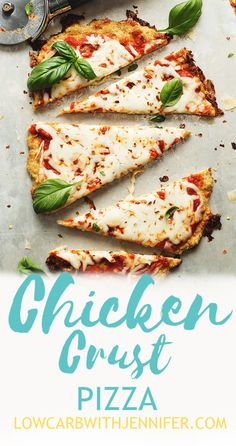 Chicken Crust Pizza A pizza crust made out of ground chicken! A low carb pizza crust that is so easy to make with only 3 ingredients and ready in about 30 minutes. Low Carb Pizza, Low Carb Keto, Low Carb Recipes, Diet Recipes, Cooking Recipes, Healthy Recipes, Keto Recipes Dinner Easy, Healthy Low Carb Dinners, Jello Recipes