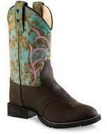 Old West Round Toe Boots: Distress Brown/Turquoise - SPECIAL ORDER - Small in the Saddle