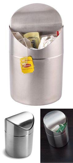 Metallic Office Bathroom Garbage Stainless Steel Trash Can with Swing Top Bin #Estilo #Elegantsatinfinishsilvercolorminitrashbinwithswinglid