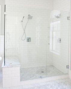 Simple Bathroom, White Bathroom, Modern Bathroom, Master Bathroom, Bathroom Ideas, Bathroom Updates, Turquoise Bathroom, Master Bath Shower, Silver Bathroom
