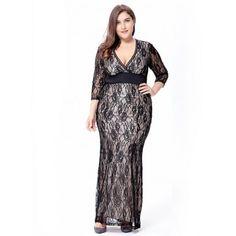 Plus size Elegant lace long Maxi Dress #maxidress #Elegantstyle #plussize #OfficeLady #officelooks #workwear #ootdfashion