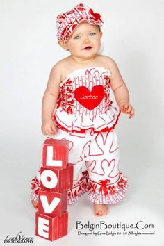 Pageant Casual Baby Valentine Hearts Love Custom by BelginBoutique, $189.99