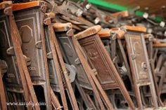 Antique wood stadium seats - Southern Accents Architectural Antiques - www.sa1969.com