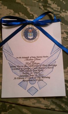 invitations for an Air Force wedding <3..again only if your thinking of an air force theme but this may be too much again.