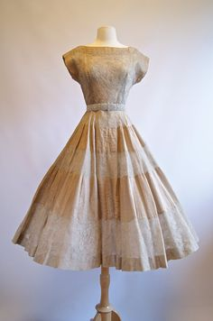 Vintage 50s Lace Party Dress  1950s Full Skirt by xtabayvintage