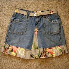 SOLD!  Denim Skirt Embellished Vintage Barkcloth by SweetRepeatVintage,