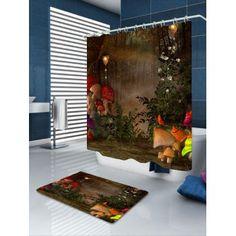 Mushroom Secret Garden Bath Curtain and Rug