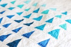 Sailing To The Sea | Finished Wonky Blue Triangles Modern Quilt